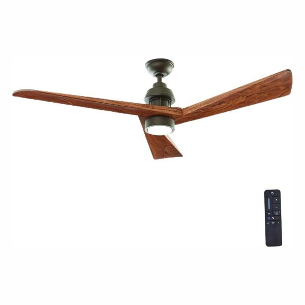 Fortston 60 in. LED Indoor Espresso Bronze Ceiling Fan with Light Kit and Remote Control