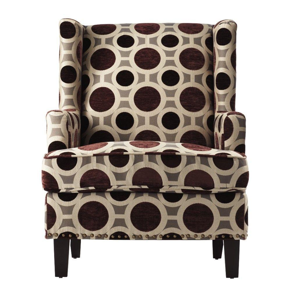 Home Decorators Collection Vincent Mulberry Fabric Wing Back Arm Chair