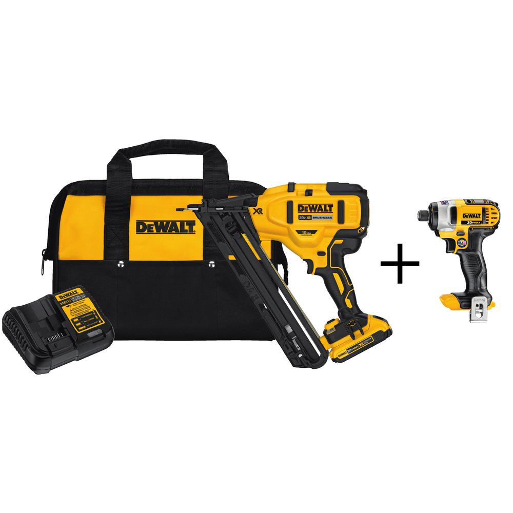 20-Volt Max Lithium-Ion Cordless 15-Gauge Finish Nailer with Bonus Bare 20-Volt