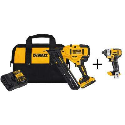 20-Volt Max Lithium-Ion Cordless 15-Gauge Finish Nailer with Bonus Bare 20-Volt Max 1/4 in. Cordless Impact Driver