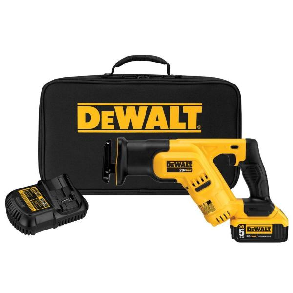 20-Volt MAX Lithium-Ion Cordless Compact Reciprocating Saw Kit with Battery 5Ah, Charger and Contractor Bag