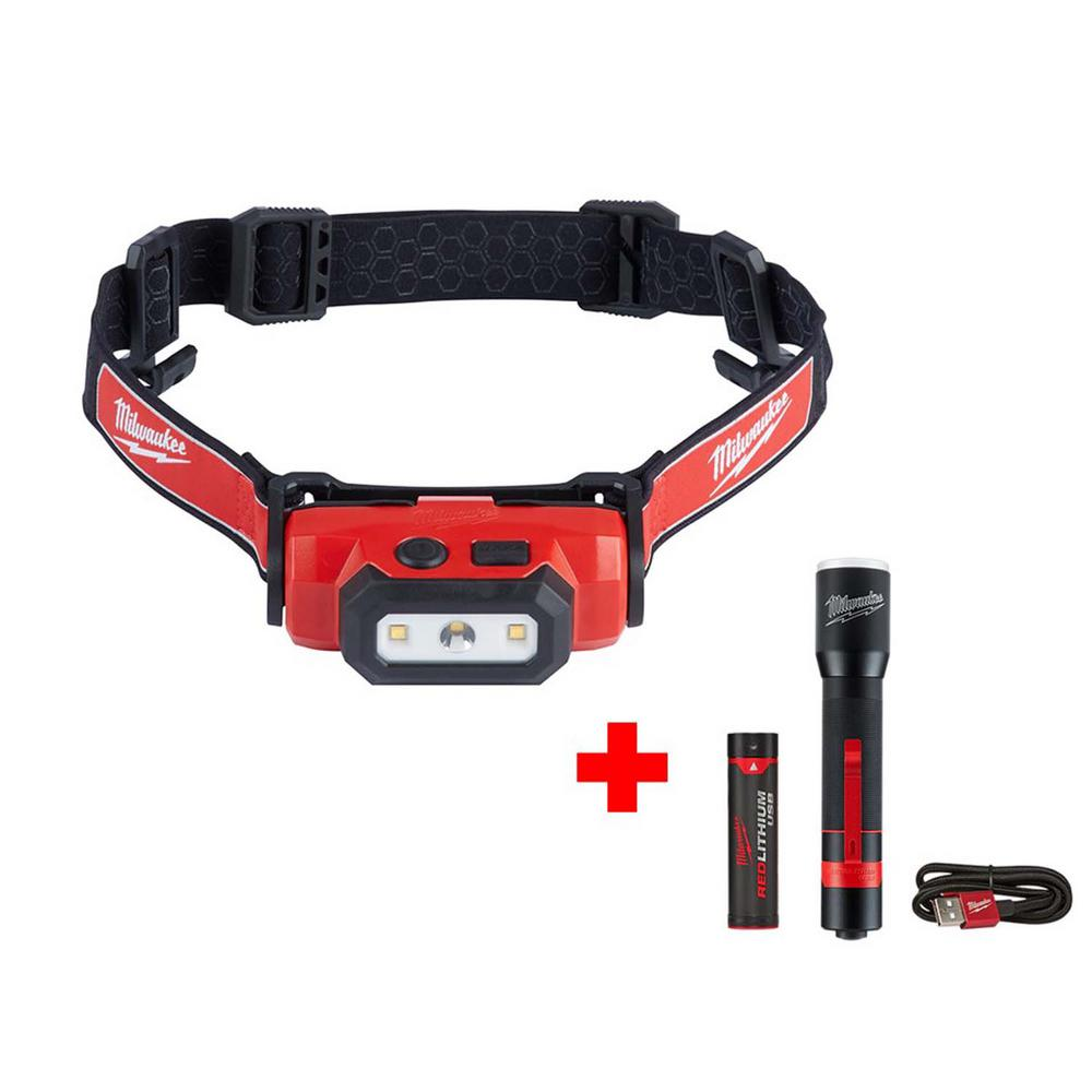 Milwaukee 475 Lumens LED Rechargeable Hard Hat Headlamp with 700 Lumens LED Rechargeable Aluminum Flashlight