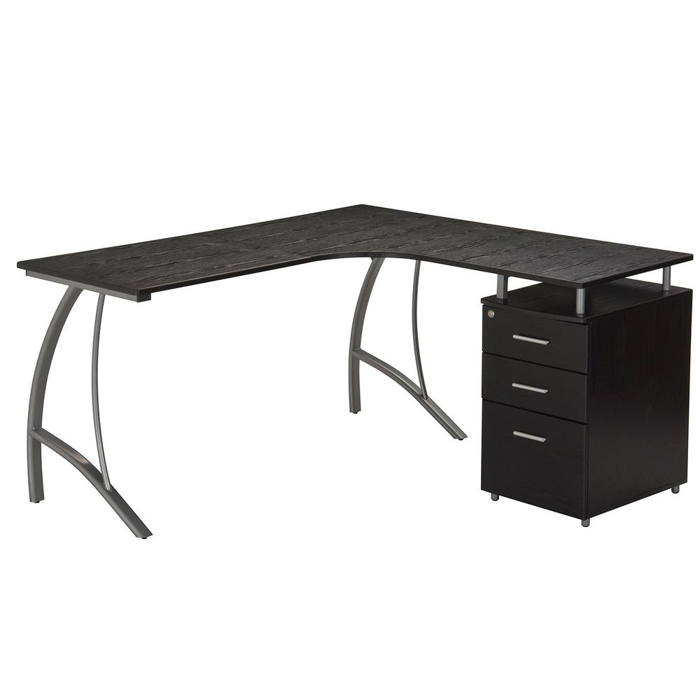 Techni Mobili Espresso Modern L Shaped Computer Desk With File Cabinet And Storage