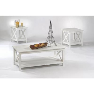 Seascape I 3-Piece Textured White Rectangle Wood Coffee Table Set with Lift Top