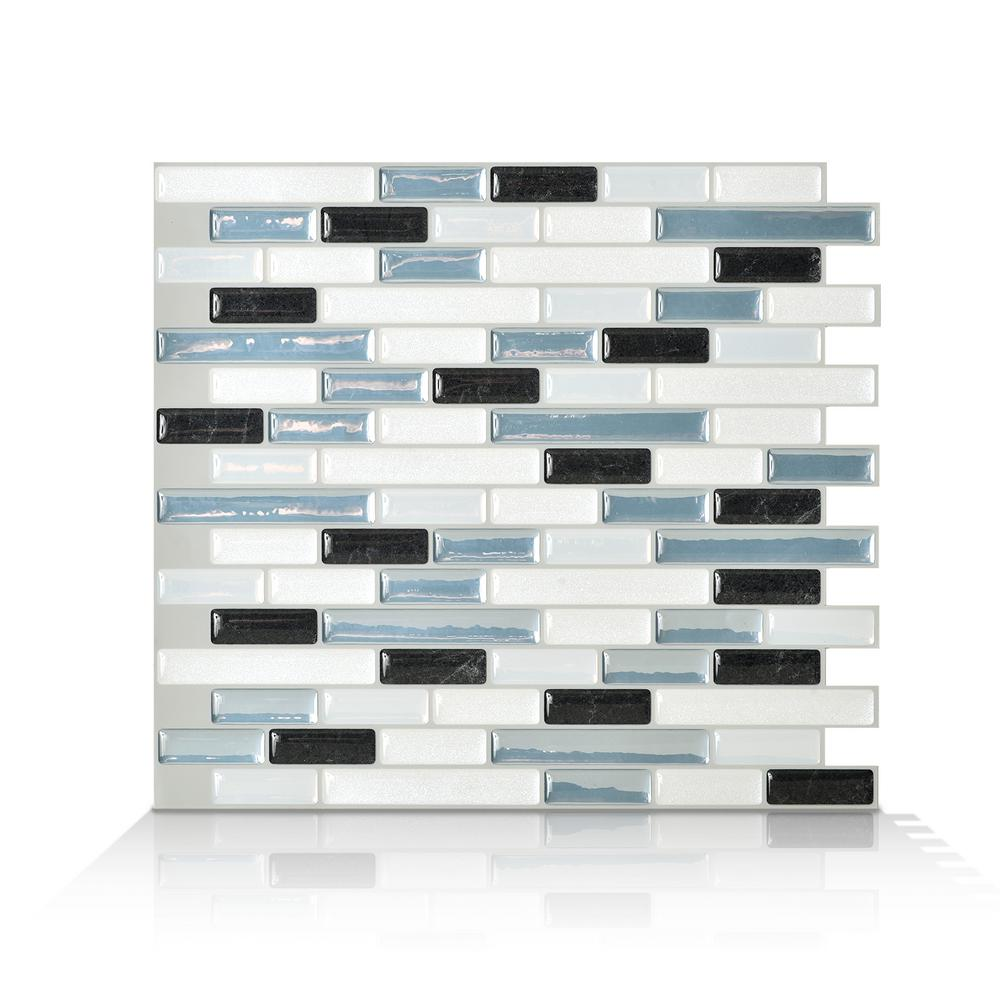 Smart Tiles Muretto Brina Blue 10.20 in. W x 9.10 in. H Peel and ...