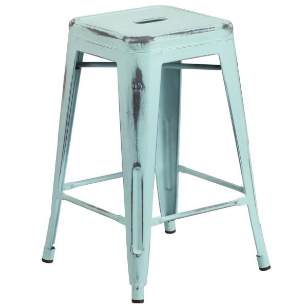 24 in. Distressed Blue Bar Stool