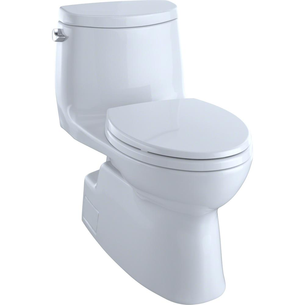 TOTO Carlyle II 1-Piece 1.28 GPF Single Flush Elongated Skirted Toilet with CeFiONtect in Cotton White