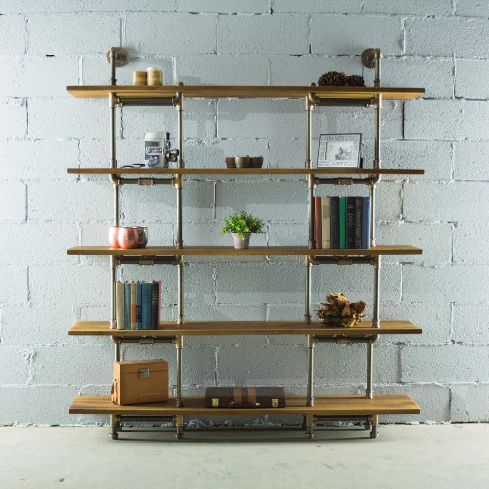 Eugene modern industrial brown 64 in large storage 5 shelf pipe bookcase etagere metal reclaimed aged wood