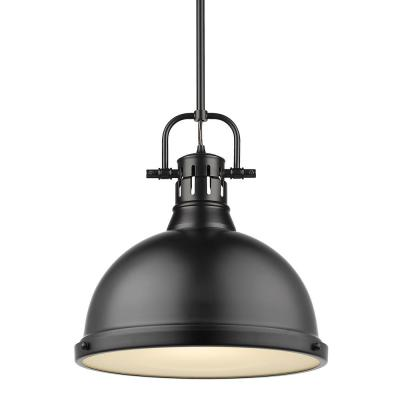 Duncan 1-Light Black Pendant and Rod with Matte Black Shade