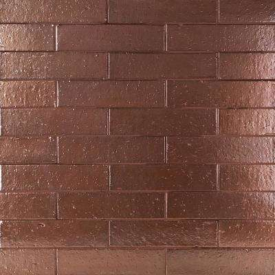 Queen Brick Metallic Rose Gold 2.5 in. x 9 in. 11mm Polished Clay Wall Tile (30 pieces / 4.63 sq. ft. / box)