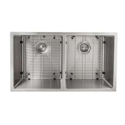 Executive Series 33 in. Undermount Double Bowl Kitchen Sink in Stainless Steel
