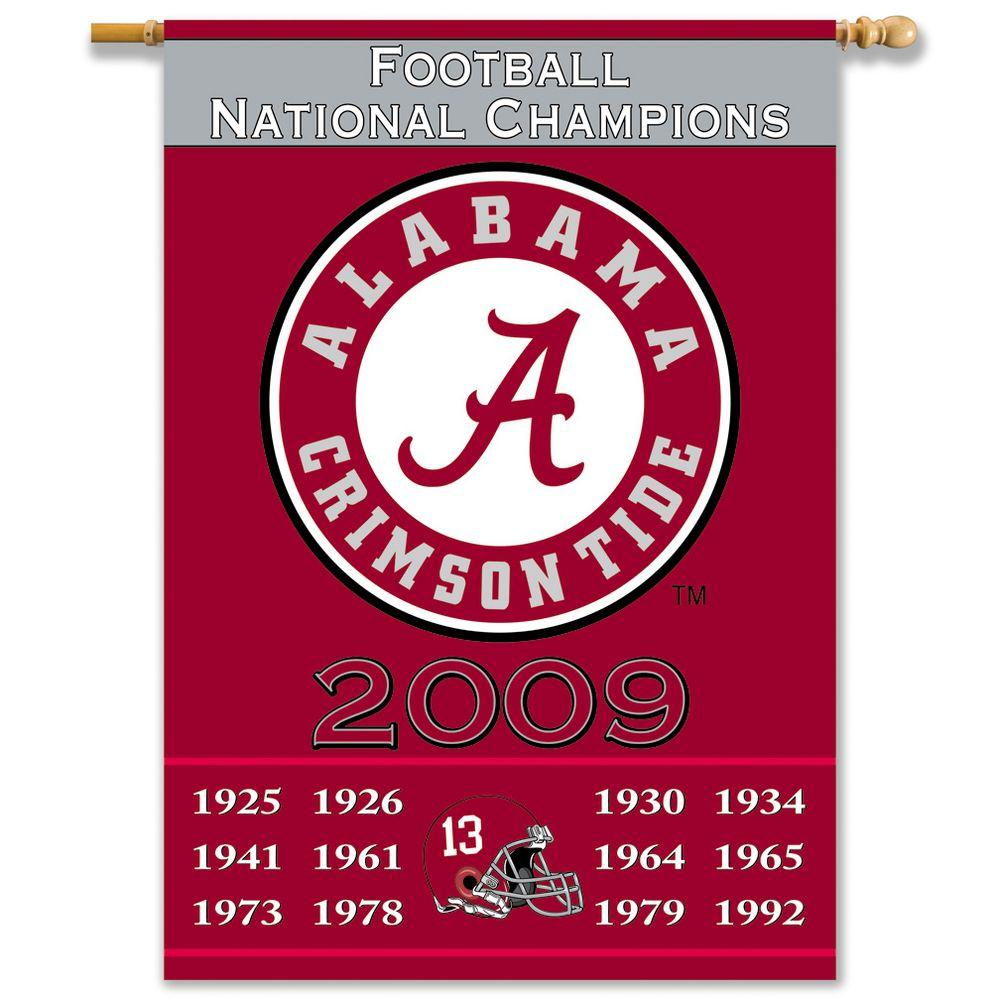 BSI Products NCAA 28 in. x 40 in. Alabama Champ Years 2-Sided Banner with Pole Sleeve-DISCONTINUED