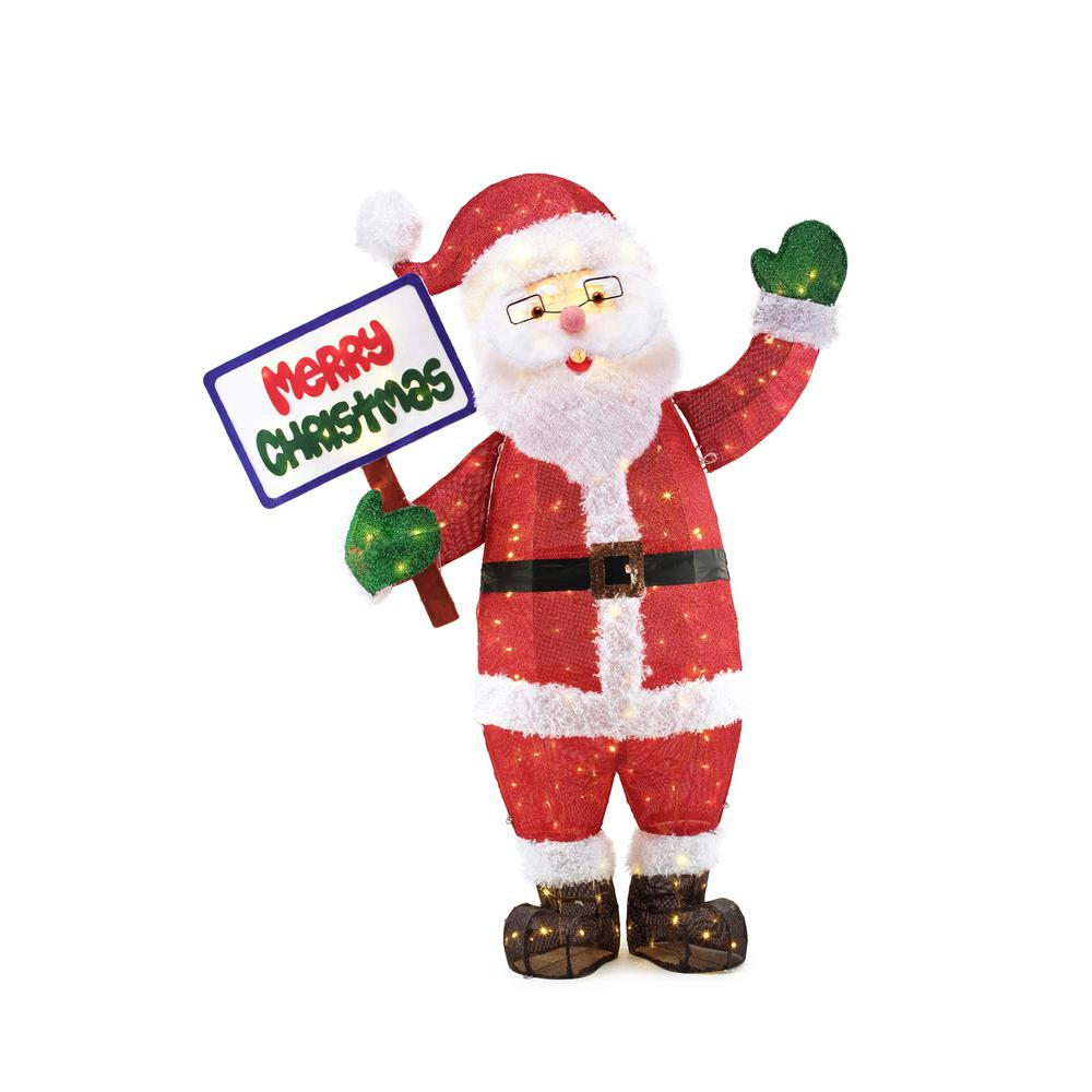 60in 200l led tinsel santa with sign - Home Depot Outdoor Christmas Decorations