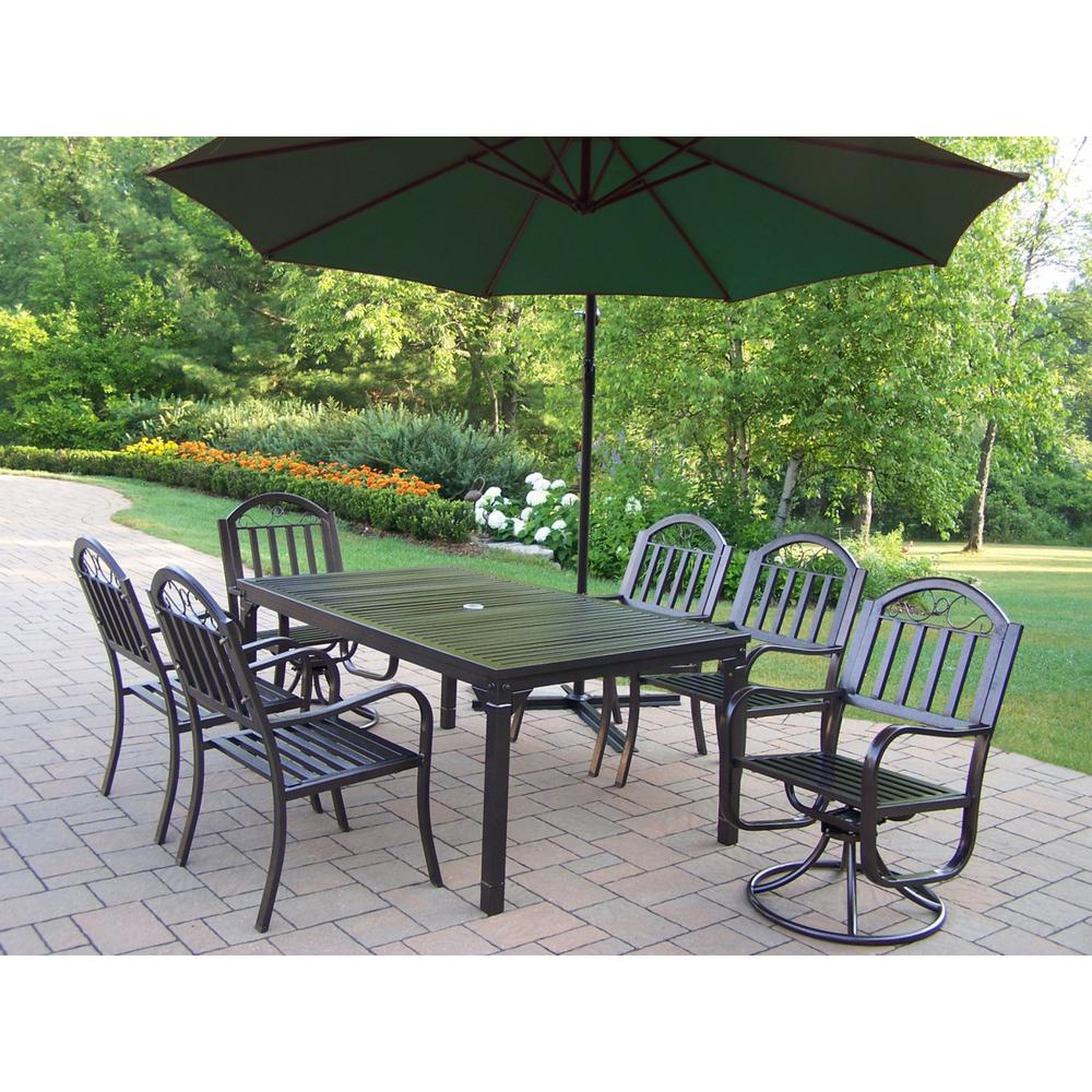 8-Piece Metal Outdoor Dining Set with Green Umbrella