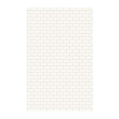 Subway Tile 62 in. x 96 in. 1-Piece Easy Up Adhesive Shower Panel in White