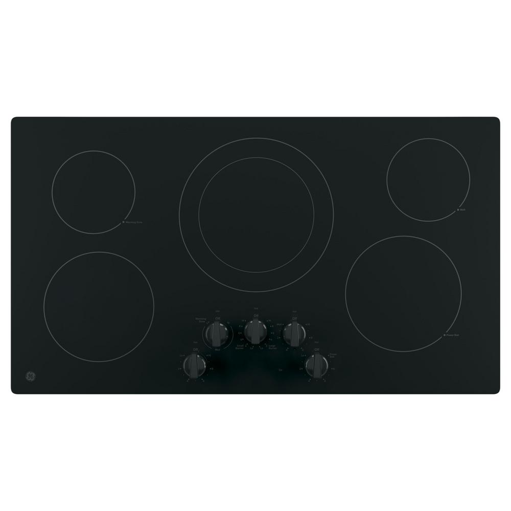 36 in. Electric Cooktop Built-in Knob Control in Black with 5