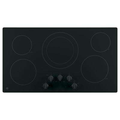 36 in. Electric 5 Element Cooktop Built-in Knob Control in Black