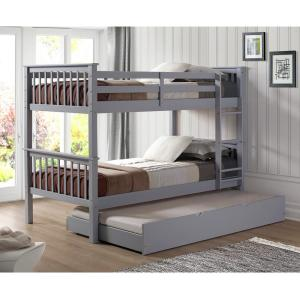 Solid Wood Grey Twin Bunk Bed With Trundle