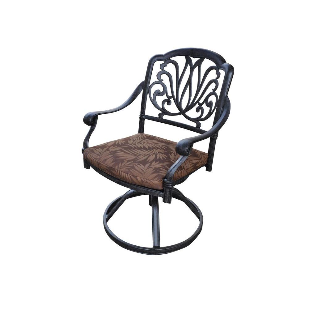 Floral Blossom Patio Swivel Chair with Burnt Sierra Leaf Cushion