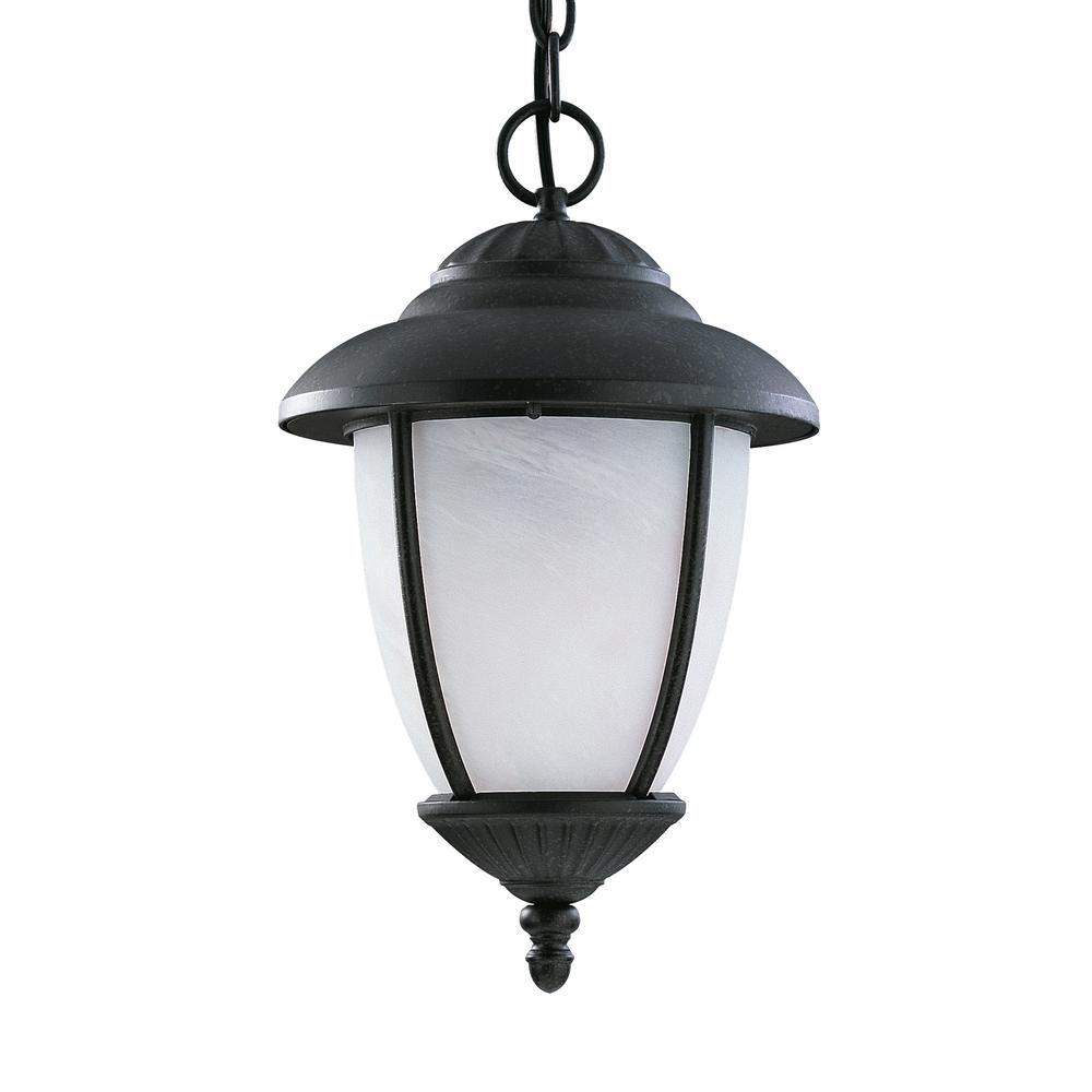 Sea Gull Lighting Yorktown Black 1-Light Outdoor Hanging Pendant with LED Bulb