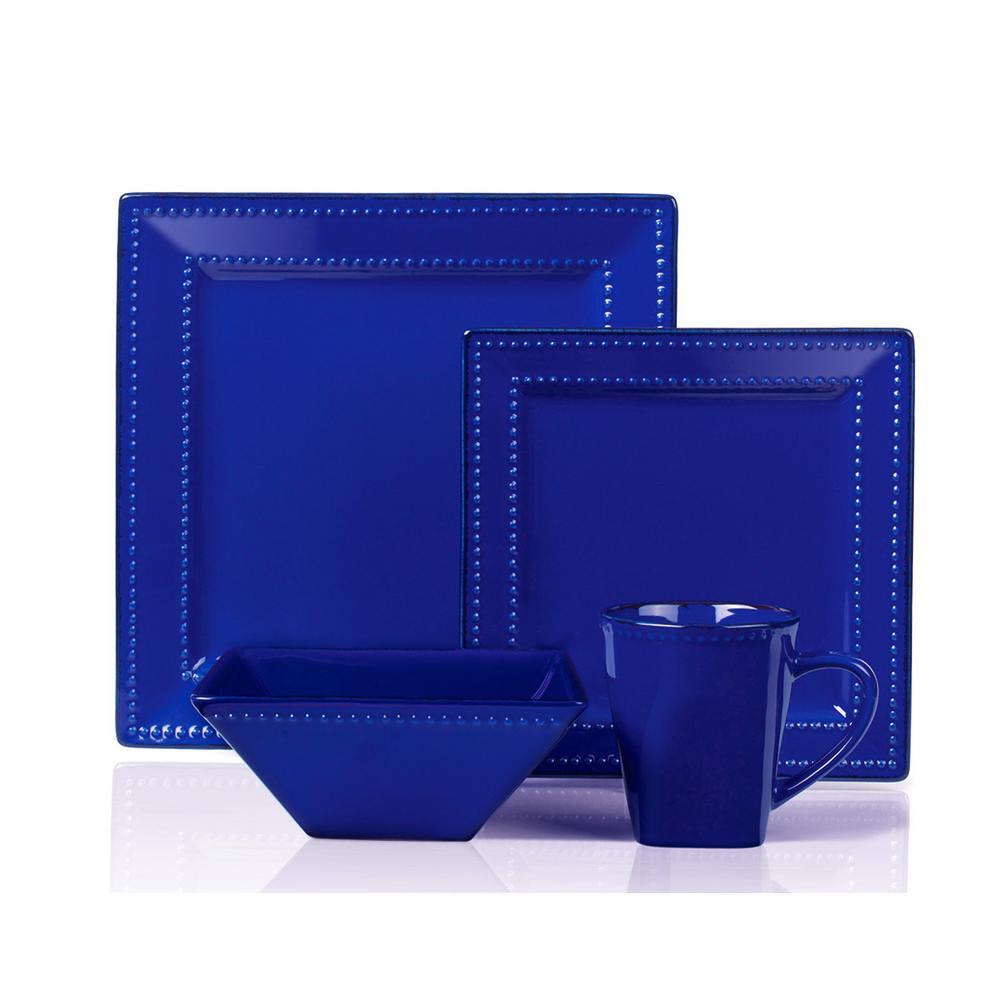 16-Piece Blue Square Beaded Stoneware Dinnerware Set