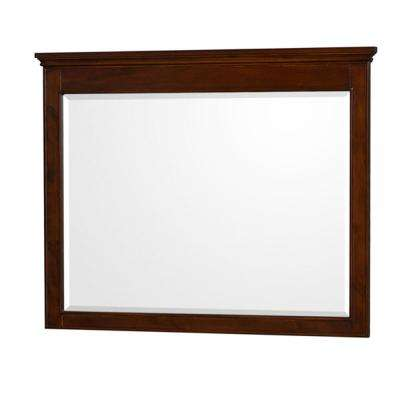 Berkeley 44 in. W x 36 in. H Framed Wall Mirror in Dark Chestnut