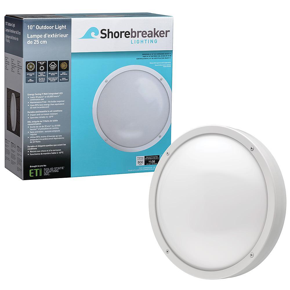 ETi Shorebreaker 10 in. White Round LED Outdoor Bulkhead Light Nautical Coastal Wall or Ceiling 800 Lumens 3000K Soft White