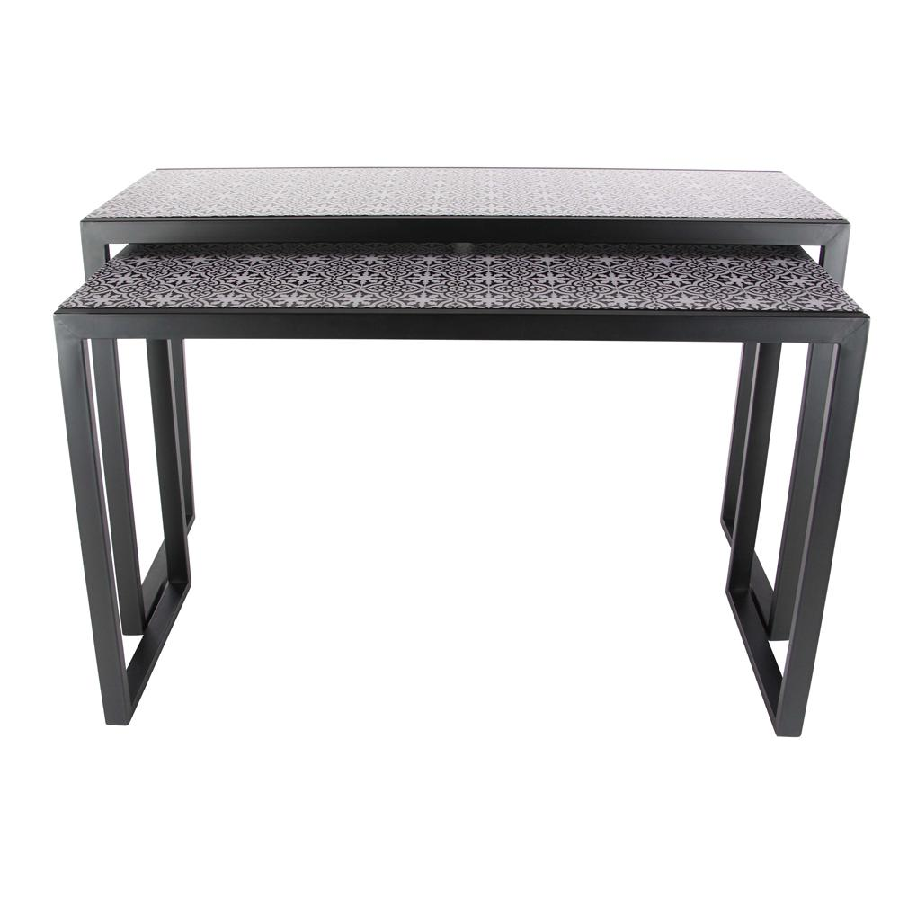 Modern black console table - Null Modern Metal And Wood Lattice Console Tables In Black Set Of 2