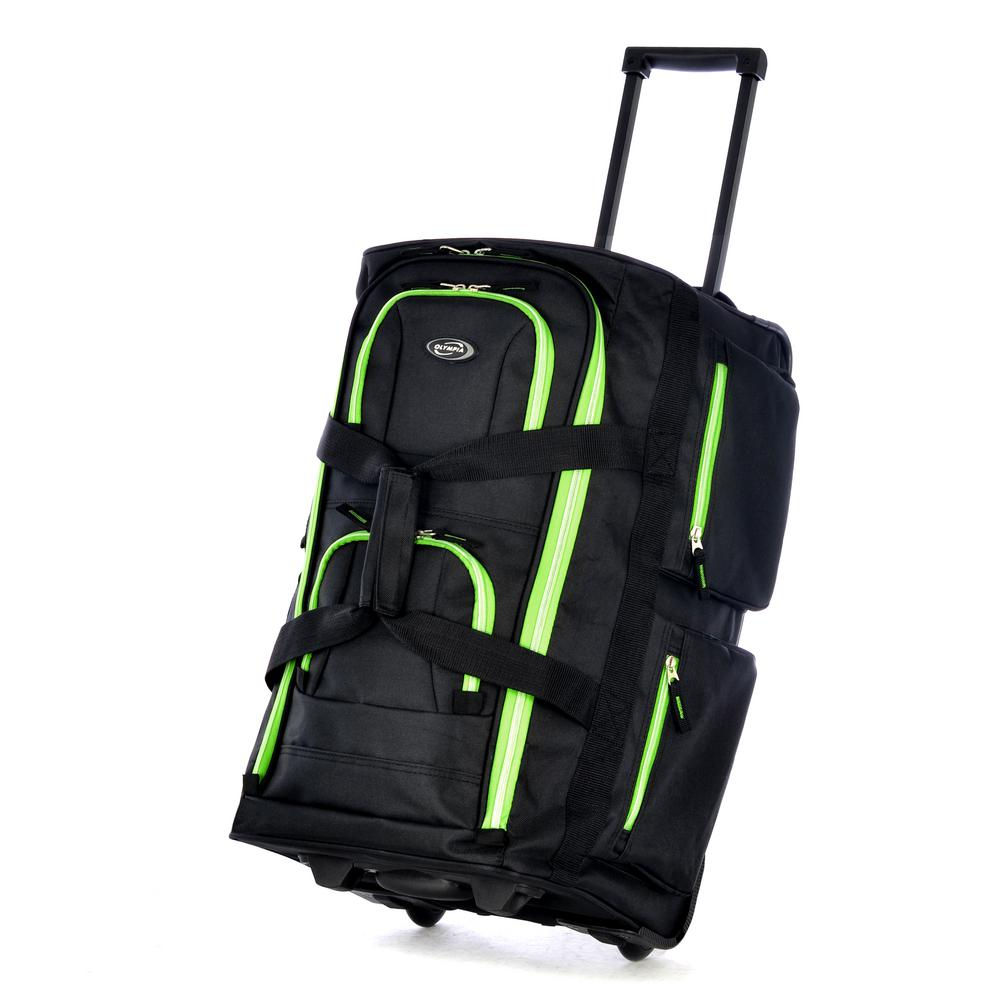 Olympia USA SRD 22 in. Black and Lime Trim Duffel Bag, Blacklime Roll through the world in style with this must-have wheeled Duffel bag from Olympia. It has 8-pockets and is roomy enough to pack for a short trip. Shopping, working, or traveling Olympia has designed a great selection of bags for them all. Color: BlackLime.