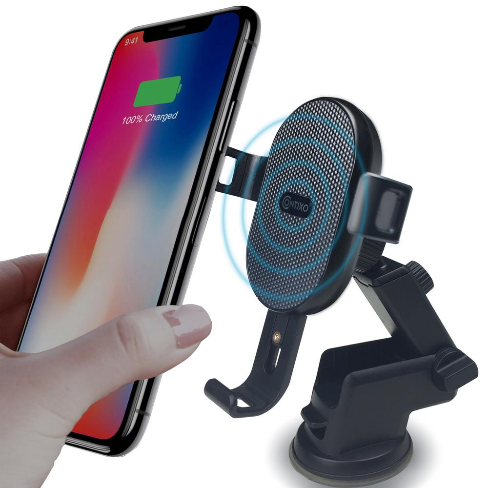CONTIXO W1 2 in 1 Wireless Car Charger w Dash Mount, Air Vent Phone Holder, 10W Fast Qi Charging for iPhone Samsung Galaxy