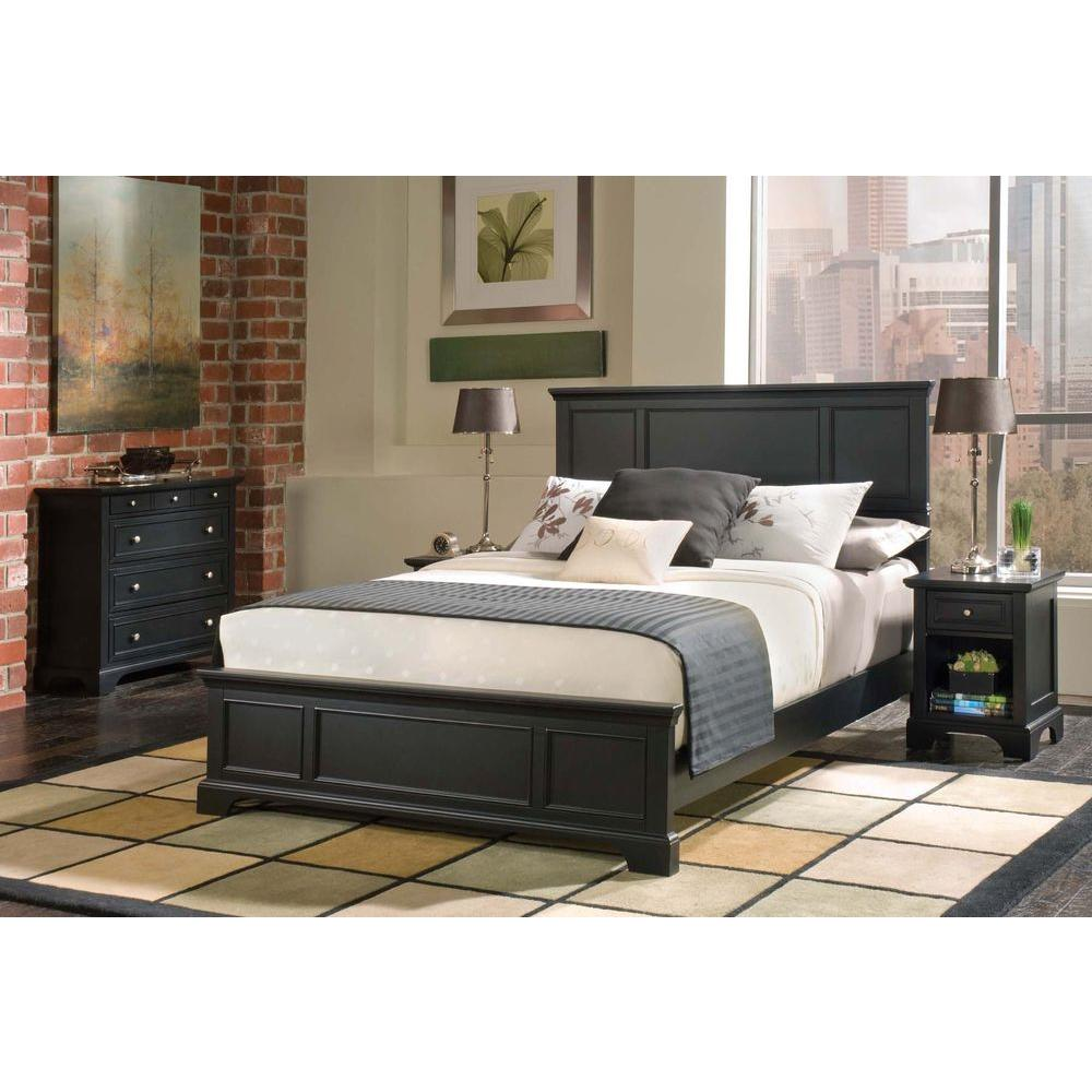 Homestyles Bedford Black Queen Bed Frame 5531 500 The Home Depot