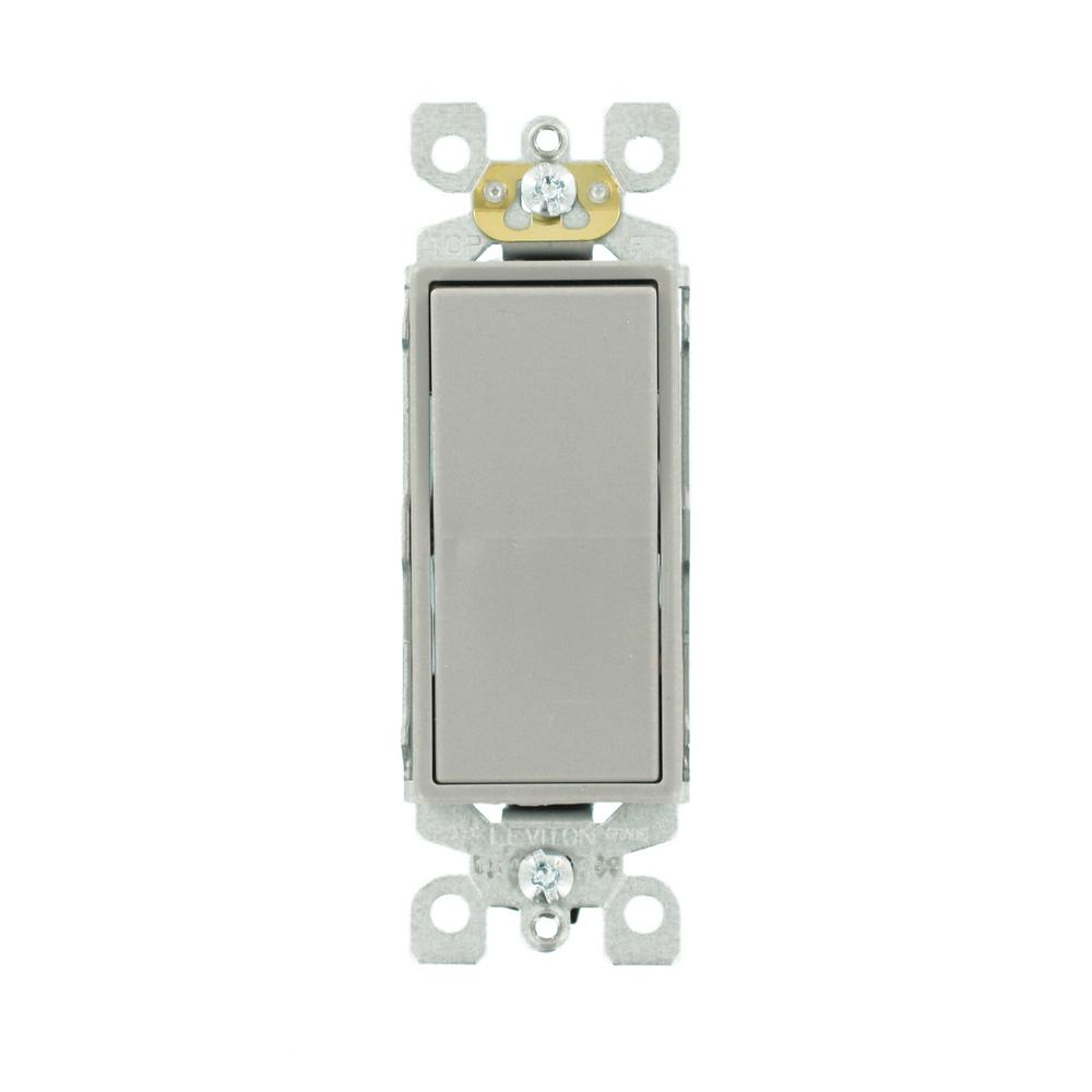 Decora 15 Amp Single-Pole AC Quiet Switch, Gray
