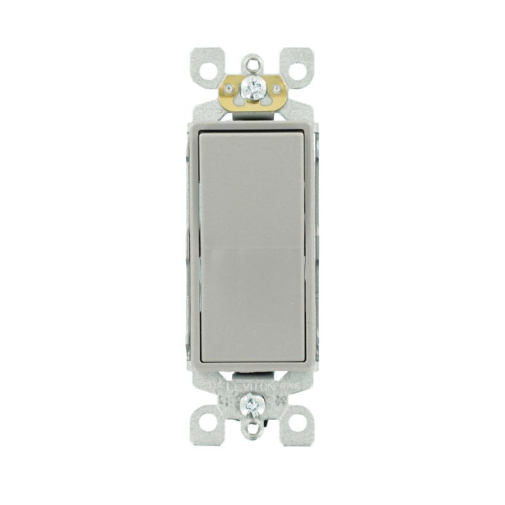 Decora 15 Amp Single-Pole AC Quiet Switch, Gray