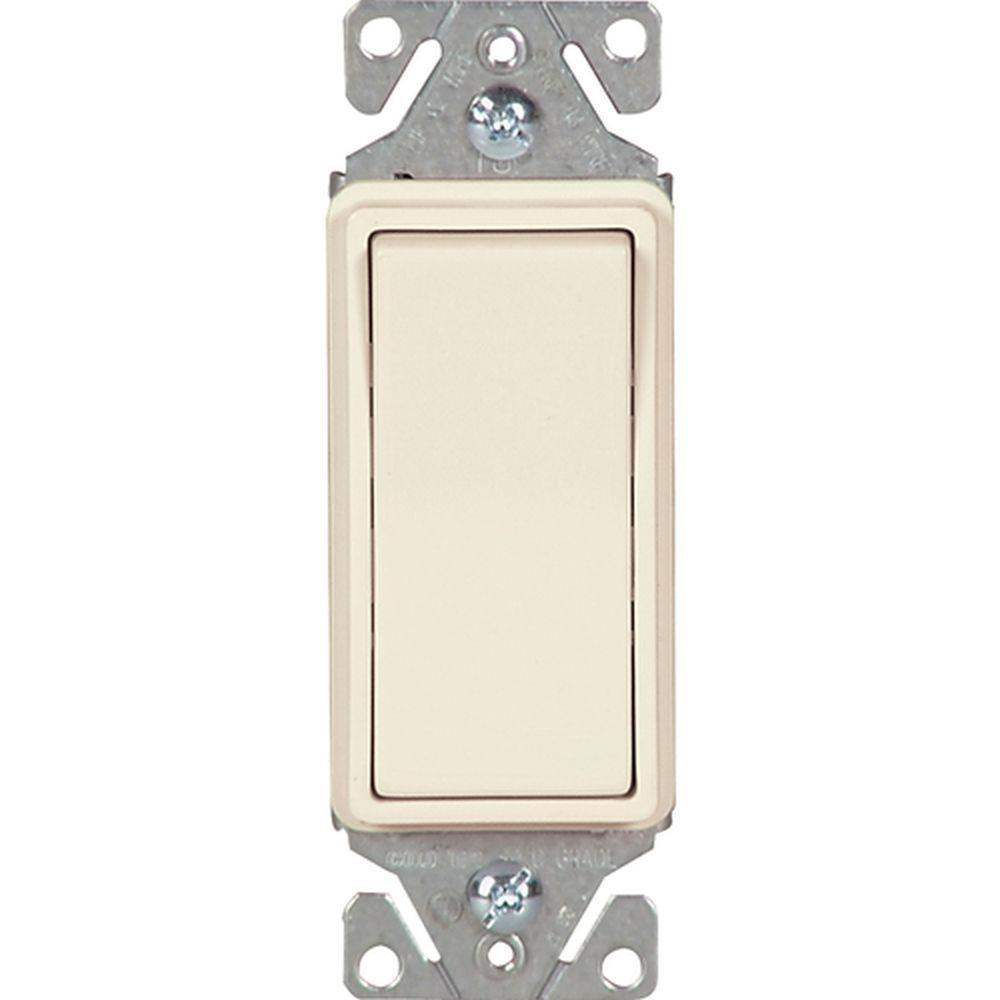 Eaton 15 Amp Single Pole Decorator Light Switch - Light Almond