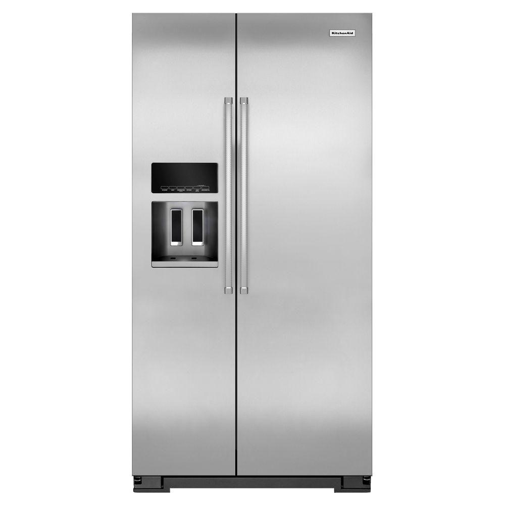Kitchenaid 22 7 Cu Ft Side By Refrigerator In Monochromatic Stainless Steel Counter
