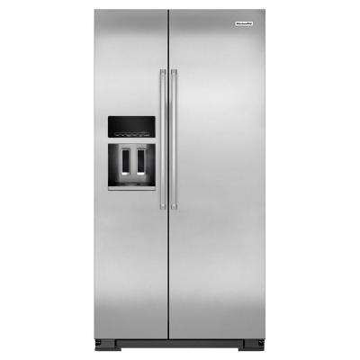 22.7 cu. ft. Side by Side Refrigerator in Monochromatic Stainless Steel with Exterior Ice and Water, Counter Depth