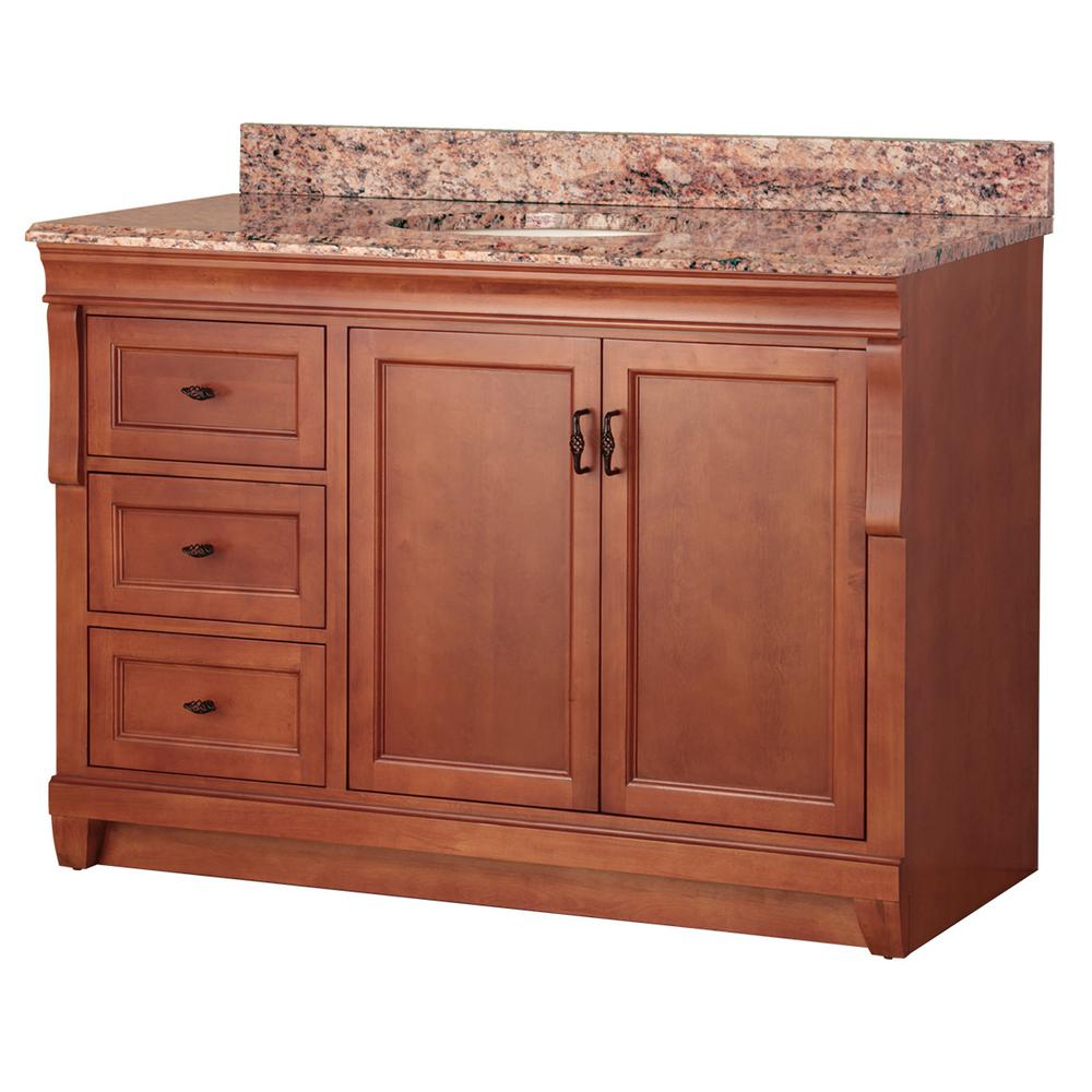 Home Decorators Collection Naples 49 in. W x 22 in. D Bath Vanity in Warm Cinnamon with Left Drawers with Stone Effects Vanity Top in Santa Cecilia