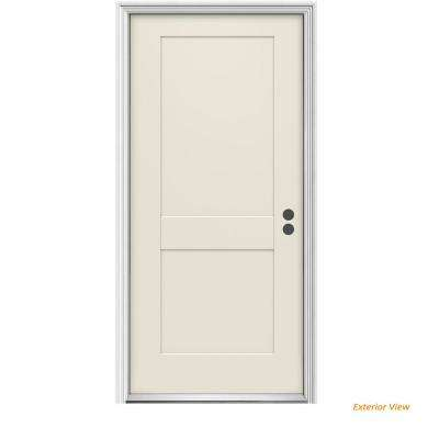 36 in. x 80 in. 2-Panel Craftsman Primed Left-Hand Inswing Steel Craftsman Prehung Front Door