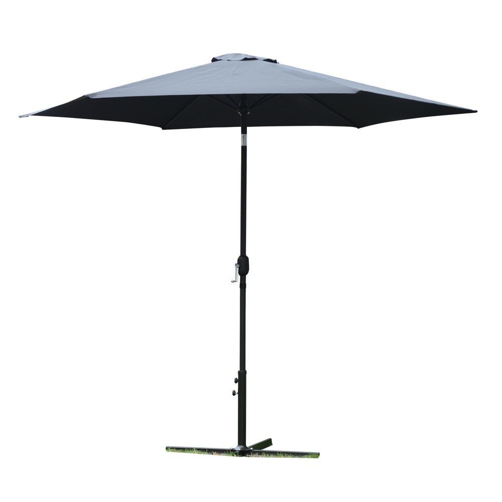 10 ft. Market Outdoor Garden Patio Beach Umbrella in Black with Push-Button Tilt and Crank Tilt