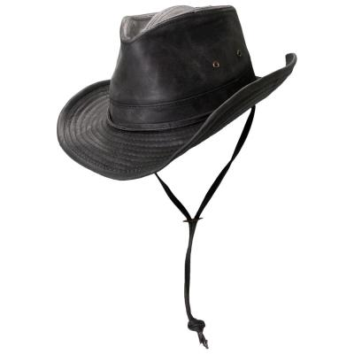 bdbfb856f3d62e Stetson Washed Twill Safari with Leather-863L-BLK4 - The Home Depot