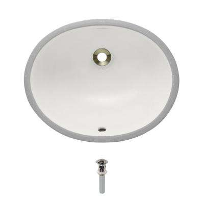 Undermount Porcelain Bathroom Sink in Bisque with Pop-Up Drain in Brushed Nickel