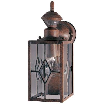 150 Degree Rustic Brown Mission Wall Lantern Sconce with Clear Beveled Glass