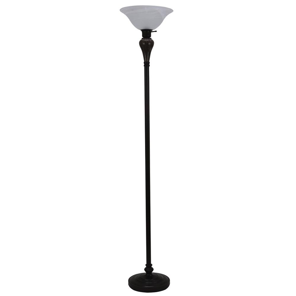 Arthur 70 in. Bronze Floor Lamp with Glass Shade