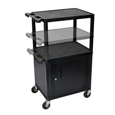 LP Multi Height 24 in. A/V Cart with Cabinet in Black