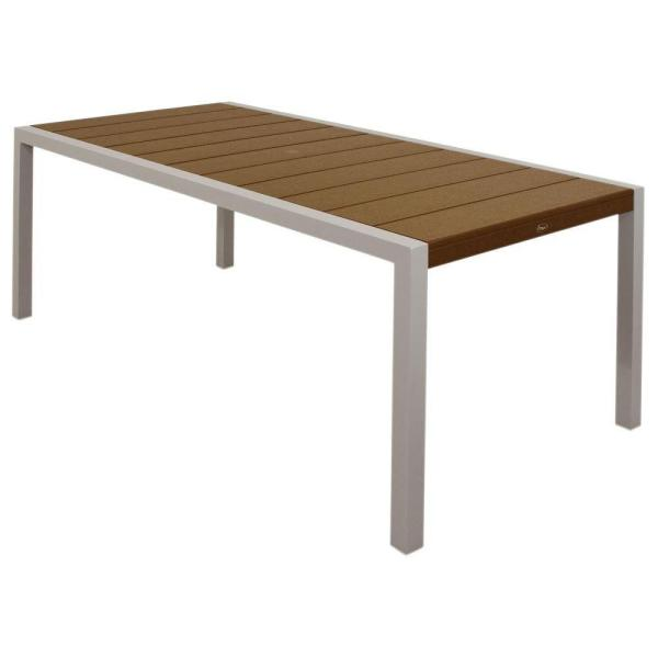 Surf City 36 in. x 73 in. Textured Silver Patio Dining Table with Tree House Top