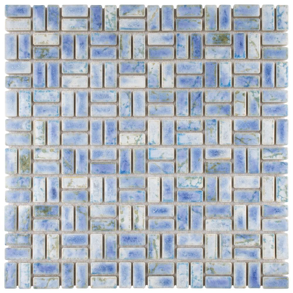 Rustica Weave Neptune Blue 12 in. x 12 in. x 8 mm Porcelain Mosaic Tile