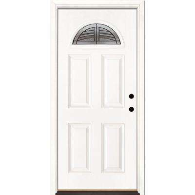 33.5 in. x 81.625 in. Rochester Patina Fan Lite Unfinished Smooth Left-Hand Inswing Fiberglass Prehung Front Door