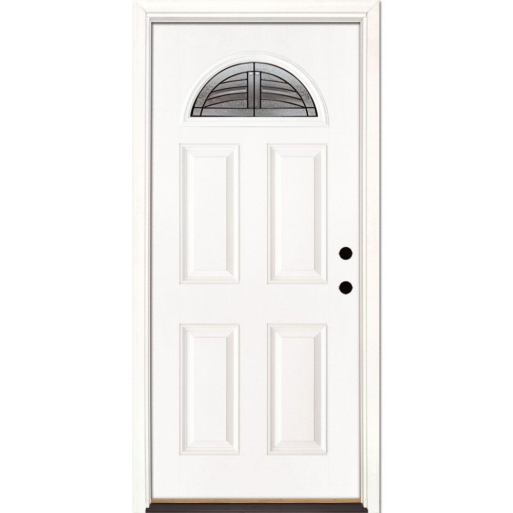 Feather River Doors 37.5 in. x 81.625 in. Rochester Patina Fan Lite Unfinished Smooth Left-Hand Inswing Fiberglass Prehung Front Door