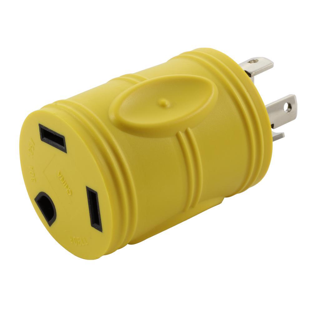 RV Generator Adapter NEMA L14-30P 30 Amp 125-Volt/250-Volt 4-Prong Locking Plug to RV TT-30R 30 Amp RV Female Connector