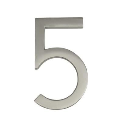 Frank Lloyd Wright Collection 4 in. Wright Satin Nickel Floating House Number 5